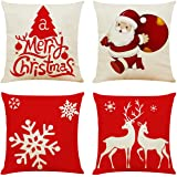 Ogrmar 4PCS 18x18 Christmas Throw Pillow Covers Fall Decorative Couch Pillow Cases Cotton Linen Autumn Pillow Square Cushion