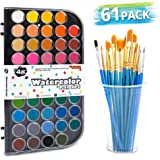 58 Pack Watercolor Paint Set, Shuttle Art 48 Colors Watercolor Pan with 10 Paint Brushes for Beginners, Artists, Kids & Adult