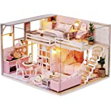 Cute Room DIY Miniature Dollhouse Kit with Furniture,Wooden Doll House Plus Music Movement & LED Lights, 1:24 Scale DIY House