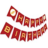 The Flash Inspired Happy Birthday Banner, Flash Bday Bunting Decor, Red Lightning Justice League Sign