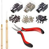 Hair Extension Kit Pliers Pulling Hook Bead Device Tool Kits and 1500 Pieces Silicone Lined Micro Rings (Black, Blonde and Br