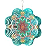 FONMY Stainless Steel Wind Spinner-3D Indoor Outdoor Garden Decoration Crafts Ornaments 12Inch Multi Color Mandala Flower Win