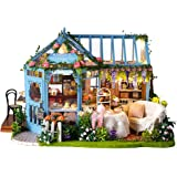 Cute Room DIY Miniature Dollhouse Kit with Furniture,Wooden Doll House Plus Music Movement & LED Lights,1:24 Scale DIY House