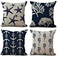 YANGYULU Ocean Theme Starfish Sea Horse Coral Anchor Cotton Linen Home Decorative Throw Pillow Case Cushion Cover for Couch S