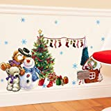 Merry Christmas Wall Sticker Santa Snowman Removable Vinyl Wall Decals Window XMAS Self-adhesive Holiday Home Decoration