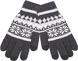 MissX 针织 手套 支持触屏功能 时尚 自行车通勤手套 毛线 起毛 北欧风 男女通用 加厚 防寒 圣诞 礼物