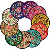 Coasters for DrinksVintage Ethnic Floral Design Fabric Coasters Value Pack 10pcs/Set 5.12/13cm (Mixed Colors)