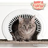Purrfect Portal Cat Door for Interior Doors with Grooming Brush - Large Pet Cat Pass for Adult Cats up to 20 Lbs - Easy to In