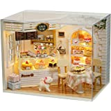 CUTEBEE Dollhouse Miniature with Furniture, DIY Dollhouse Kit Plus Dust Proof and Music Movement, 1:24 Scale Creative Room fo