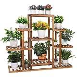 6 Tiered Plant Stand, Wooden Plant Shelf Indoor Plant Holder Flower Stand Outdoor Plant Rack Garden Display Ladder Planter Mu