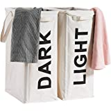 "ALINK 26"" Tall Slim Laundry Hamper Bag, 2Pcs/Set Lights and Darks Separator, Waterproof Large Thin Foldable Dirty Clothes Sto"