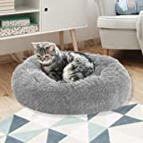 PaWz Pet Bed Cat Dog Donut Nest Calming Kennel Cave Deep Sleeping Light Grey L L-70cm in Light Grey