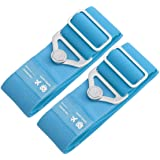 TOOYOMODA スーツケースベルト 弾力タイプ 荷物ストラップ 荷物固定バックル2pcs(ブルー)
