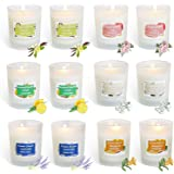 HELLY Soy Candle Strong Scented Candles - Aromatherapy Candles Long Lasting Candles White Frosted Glass Jar Candle (Lemon, La