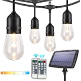3-Color in 1 Dimmable Solar String Lights,48ft LED Outdoor String Lights for Patio with Remotes,15 Hanging Sockets,Waterproof
