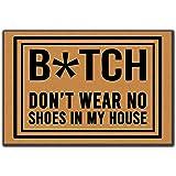 """Awater Funny Door Mats Funny Words Shoes Off Bitches Indoor/Outdoor Doormat Indoor/Outdoors Decor Mat Rugs Size 23.6""""(L) x 15"""