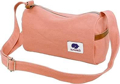 [スナメリ] SUNAMELi 日本製 キャンバス ミニショルダーバッグ ライトピンク/グレー sm001
