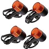HAMILO ウインカーライト バイク ランプ 方向指示器 円筒型 ヨーロピアン ウィンカー 4個セット (オレンジ)