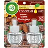 Air Wick plug in Scented Oil 2 Refills, Warm Mahogany, Holiday scent, Holiday spray, (2x0.67oz), Essential Oils, Air Freshene