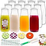 12oz 12pcs Empty Glass Bottles, Reusable Clear Glass Juice and Milk Bottles with Lids, Reusable Clear Containers for Juice, M