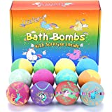 Bath Bombs for Kids with Toys Inside for Girls Boys - 12 Pcs XXL Large Size Gift Set, Surprise Unicorn Necklace Bracelet Toy,