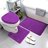 Smart Linen 3 Piece Bathroom Rug Set Includes Bath Rug, Contour Mat and Toilet Lid Cover, Machine Washable, Super Soft Microf