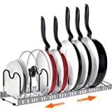 Expandable Pot and Pan Organizers Rack, AHNR 10+ Pans and Pots Lid Organizer Rack Holder, Kitchen Cabinet Pantry Bakeware Org
