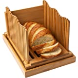 Comfify Bamboo Bread Slicer For Homemade Bread Loaf Wooden Bread Cutting Board With Crumble Holder Foldable And Compact Loaf