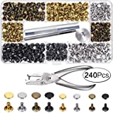 240 Set Leather Rivets Double Cap Rivet Tubular Metal Studs 2 Sizes with Punch Pliers and 3 Pieces Setting Tool Kit 4 Colors