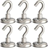 GREATMAG Magnetic Hooks,100 lbs Heavy Duty Magnet Hooks for Hanging, Pack of 6