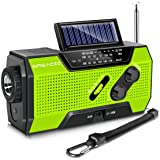 Emergency Weather Solar Crank AM/FM NOAA Radio with Portable 2000mAh Power Bank, Bright Flashlight and Reading Lamp for House