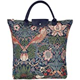 Signare Blue Floral William Morris Strawberry Thief Tapestry Fold-able Reusable Grocery Shopping Bag (FDAW-STBL)