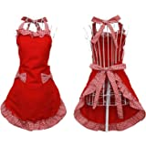 Hyzrz Cute Fashion Cotton Flirty Red Aprons for Women Girls Vintage Cooking Retro Apron with Pockets for