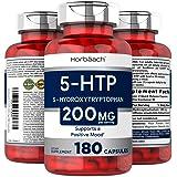 Horbaach 5HTP 100mg 6-Month Supply   180 Capsules   Non-GMO, Gluten Free   5 HTP   5 Hydroxytryptophan Extra Strength Supplem