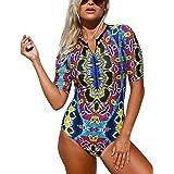SIDEFEEL Women's Abstract Print Zip Front Half Sleeve One Piece Swimsuit