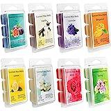 YIHAN Scented Wax Melts -Set of 8 (2.5 oz) Assorted Wax Warmer Cubes/Tarts - Jasmine, Rose, Bergamot, Fig, Vanilla, Lemon, Sp