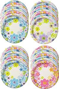 日本デキシー 紙皿 キュンキュンフルールスーパープレート17cm 3柄 32枚