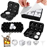 Ice Cube Molds Easy-Release Silicone and Flexible trays, 4 packs include Sphere Ice ball Maker ,Large Square Ice Cube, Diamon