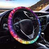 Showudesigns Rainbow Steering Wheel Cover for Teens Girls Anti-Slip Stretch Auto Steering Wheel Covers Universal Fit Car Wrap