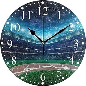 プロ野球場 掛け時計 置き時計 おしゃれ 北欧 油絵の効果 壁掛け 連続秒針 リビング 部屋装飾 贈り物