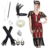 Fancy Clothing Women's 1920s Gatsby Inspired Sequin Beads Long Fringe Flapper Dress w/Accessories Set