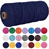 Macrame Cord DIY Natural Yarn Cotton 3mm x 109Yards Macrame Rope Cotton Cord Twine String Cord for DIY Wall Plant Hanger Craf