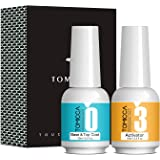 TOMICCA Top & Base Coat and Activator Set Special for Nail Powder Dip System Polish, Fast Drying without UV LED, Shine Finish