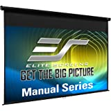 Elite Pull Down Manual Projector Screen with Wall/Ceiling Mount, 16:9 Format, 150 Inch Size, Black Casing