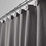 mDesign Long Hotel Quality Polyester/Cotton Blend Fabric Shower Curtain Waffle Weave Rustproof Metal Grommets Bathroom Shower