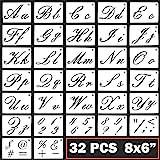 Letter Stencils Cursive Letter Stencils Calligraphy Stencil Letters Cursive Alphabet Letter Number Drawing Painting Stencils