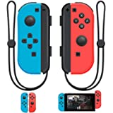 SINGLAND Joy Con Wireless Controller Replacement for Switch, Left&Right Remote with Wrist Strap Support Wake-up Function (Red