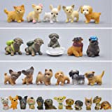 GuassLee Mini Plastic Puppy Dog Figurines for Kids - 28 Pack High Imitation Detailed Hand Painted Realistic Small Dog Figurin