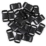 Penta Angel 3/8 Inch Black Plastic Curved Buckle DIY Craft Webbing Contoured Side Quick Release Buckle for Bracelets Backpack