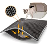 Topcovos Cat Litter Mat, Double Layer Honeycomb Litter Trapping Mat Size24x18Inch Washable Litter Mats for Litter Boxes Easy